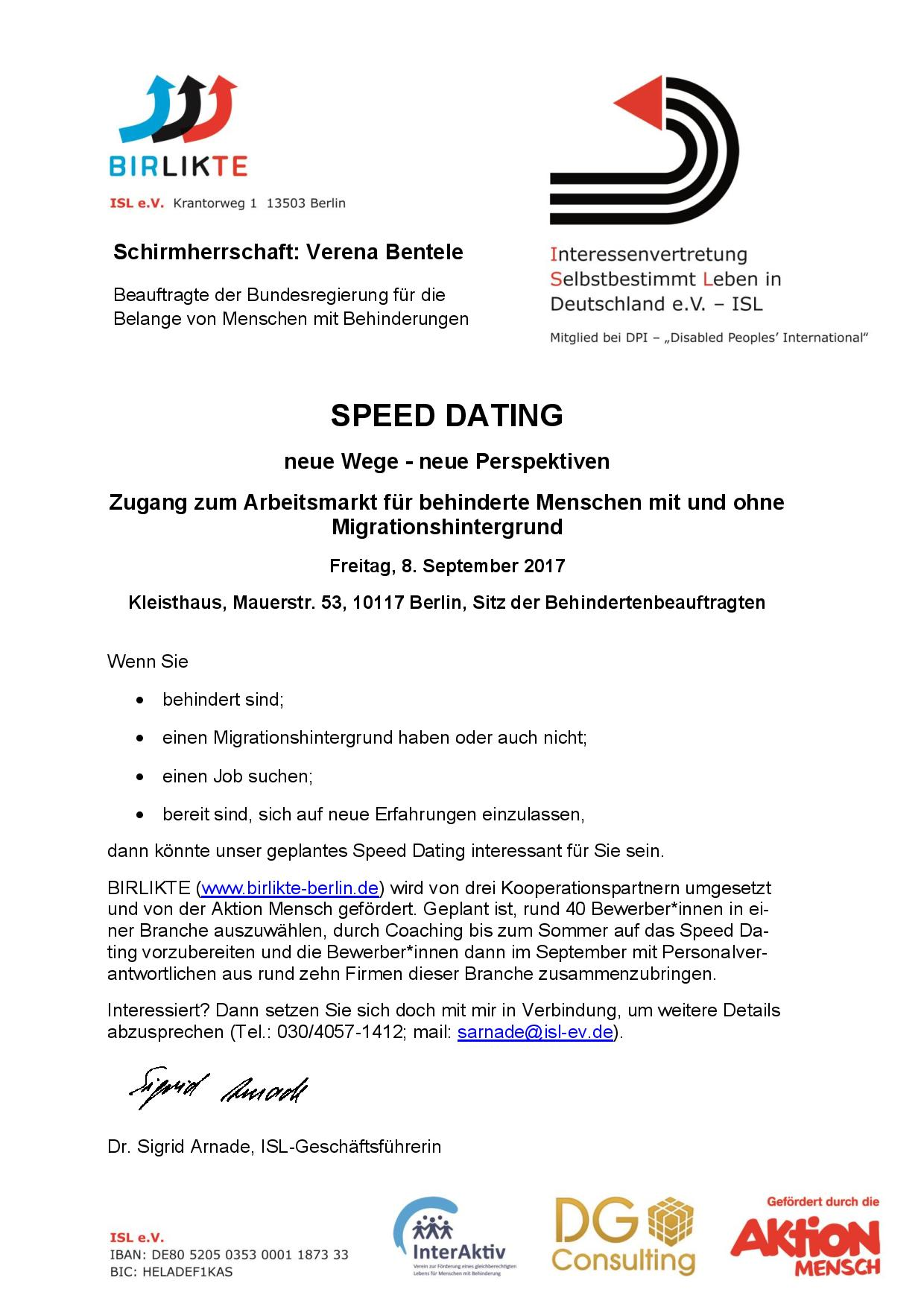Werbung Speed-Dating